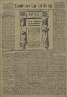Pommersche Zeitung : organ für Politik und Provinzial-Interessen. 1907 Nr. 11 Blatt 1