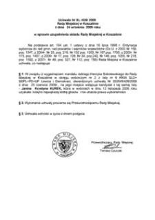 Uchwała Rady Miejskiej w Koszalinie nr XL/436/2009