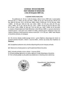 Uchwała Rady Miejskiej w Koszalinie nr XLIV/506/2009