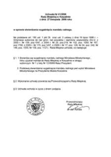 Uchwała Rady Miejskiej w Koszalinie nr I/1/2006
