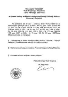 Uchwała Rady Miejskiej w Koszalinie nr VII/46/2007