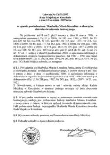 Uchwała Rady Miejskiej w Koszalinie nr IX/71/2007