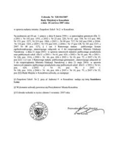 Uchwała Rady Miejskiej w Koszalinie nr XII/104/2007
