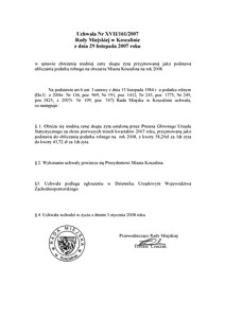 Uchwała Rady Miejskiej w Koszalinie nr XVII/161/2007