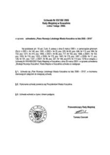 Uchwała Rady Miejskiej w Koszalinie nr XX/188/2008