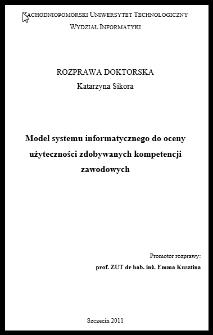 Model systemu informatycznego do oceny użyteczności zdobywanych kompetencji zawodowych