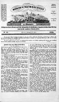 Börsen-Nachrichten der Ost-See : allgemeines Journal für Schiffahrt, Handel und Industrie jeder Art. 1840 Nr. 47
