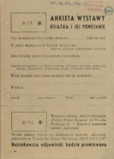 """[Druk ulotny] Ankieta wystawy """"Książka i jej powstanie"""""""