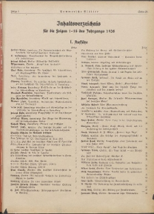 Pommersche Blätter : Kampfblatt für Erzieher und Schule. 1938 Inhaltsverzeichnis ...