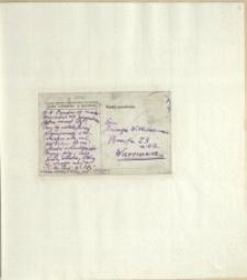 Listy Stanisława Ignacego Witkiewicza do żony Jadwigi z Unrugów Witkiewiczowej. Kartka pocztowa po 10.01.1925