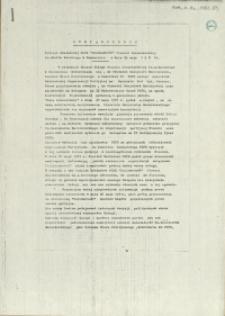"""Oświadczenie Komisji Zakładowej NSZZ """"Solidarność"""" Stoczni Szczecińskiej im. A. Warskiego w Szczecinie z dnia 29 maja 1981 r."""