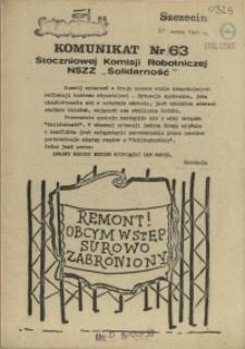 """Komunikat Stoczniowej Komisji Robotniczej NSZZ """"Solidarność"""". 1981 nr 63"""