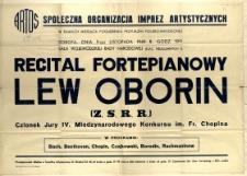 [Afisz. Inc.:] Recital fortepianowy Lew Oborin