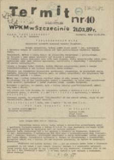 """Termit : pismo NSZZ """"Solidarność"""" WPKM w Szczecinie. 1989 nr 40"""