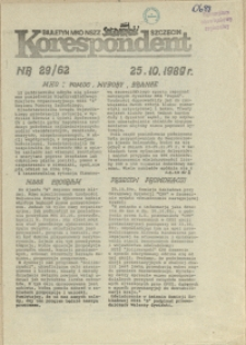 """Korespondent : biuletyn MKO NSZZ """"Solidarność"""" Szczecin. 1989 nr 29"""