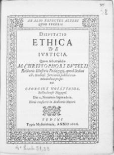 Dispvtatio Ethica De Ivsticia