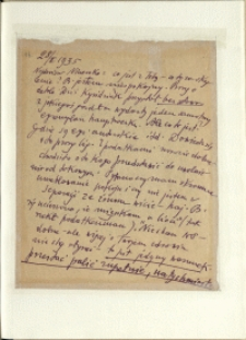 Listy Stanisława Ignacego Witkiewicza do żony Jadwigi z Unrugów Witkiewiczowej. List z 28.02.1935.