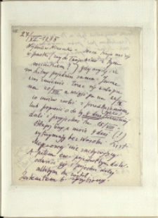 Listy Stanisława Ignacego Witkiewicza do żony Jadwigi z Unrugów Witkiewiczowej. List z 27.07.1935.