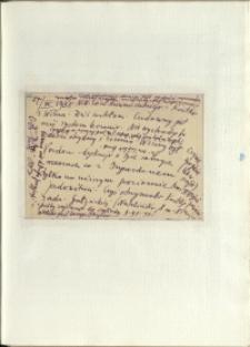 Listy Stanisława Ignacego Witkiewicza do żony Jadwigi z Unrugów Witkiewiczowej. Kartka pocztowa z 27.09.1935.