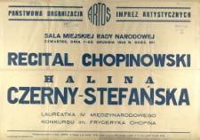 [Afisz] Recital chopinowski Halina Czerny-Stefańska