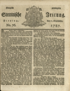 Königlich privilegirte Stettinische Zeitung. 1787 No. 76 + Beylage