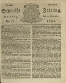 Königlich privilegirte Stettinische Zeitung. 1792 No. 77