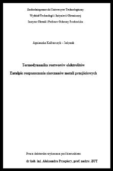 Termodynamika roztworów elektrolitów : entalpie rozpuszczania siarczanów metali przejściowych
