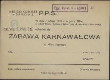 [Zaproszenie. Inc.:] W dniu 7 lutego 1948 r. [...] odbędzie się zabawa taneczna