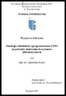 Ontologie składników oprogramowania COTS na potrzeby skalowanych systemów informatycznych
