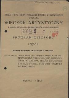 [Inc.:] [...] Wieczór artystyczny w ramach miesiąca pogłębiania przyjaźni polsko-radzieckiej