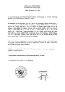 Uchwała Rady Miejskiej w Koszalinie nr XXII/338/2012