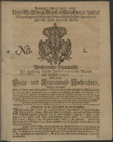 Wochentliche Stettinische zur Handlung nützliche Preis-Courante der Waaren und Wechsel-Cours, wie auch Frage- und Anzeigungs-Nachrichten. 1728 No. 2