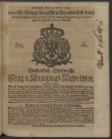 Wochentlich-Stettinische Frag- und Anzeigungs-Nachrichten. 1740 No. 16