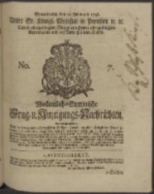 Wochentlich-Stettinische Frag- und Anzeigungs-Nachrichten. 1746 No. 7