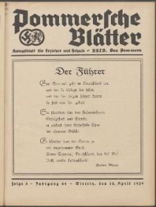Pommersche Blätter : Kampfblatt für Erzieher und Schule. Jg. 64, 1939 Folge 8