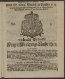 Wochentlich-Stettinische Frag- und Anzeigungs-Nachrichten. 1744 No. 5