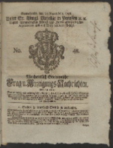 Wochentlich-Stettinische Frag- und Anzeigungs-Nachrichten. 1758 No. 48