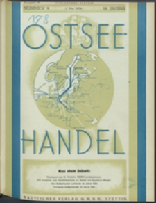Ostsee-Handel : Wirtschaftszeitschrift für der Wirtschaftsgebiet des Gaues Pommern und der Ostsee und Südostländer Jg. 14, 1934 Nr. 9