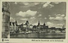 Stettin, Blick von der Baumbrücke auf die Hakenterrasse