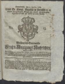 Wochentlich-Stettinische Frag- und Anzeigungs-Nachrichten. 1768 No. 13 + Anhang