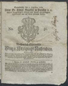 Wochentlich-Stettinische Frag- und Anzeigungs-Nachrichten. 1769 No. 31 + Anhang