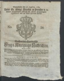 Wochentlich-Stettinische Frag- und Anzeigungs-Nachrichten. 1769 No. 34 + Anhang