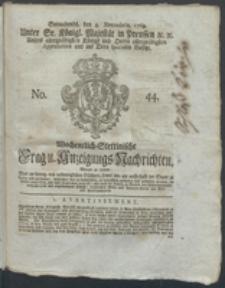 Wochentlich-Stettinische Frag- und Anzeigungs-Nachrichten. 1769 No. 44 + Anhang