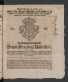 Wochentlich-Stettinische Frag- und Anzeigungs-Nachrichten. 1770 No. 16 + Anhang