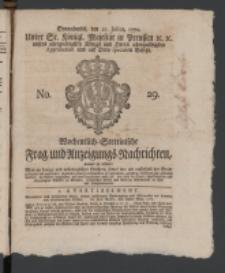 Wochentlich-Stettinische Frag- und Anzeigungs-Nachrichten. 1770 No. 29 + Anhang