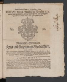 Wochentlich-Stettinische Frag- und Anzeigungs-Nachrichten. 1770 No. 32 + Anhang