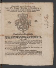 Wochentlich-Stettinische Frag- und Anzeigungs-Nachrichten. 1770 No. 45 + Anhang