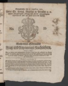 Wochentlich-Stettinische Frag- und Anzeigungs-Nachrichten. 1771 No.33 + Anhang
