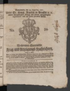 Wochentlich-Stettinische Frag- und Anzeigungs-Nachrichten. 1771 No.34 + Anhang