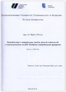 Syntaktyczna i semantyczna analiza danych tekstowych z wykrzystaniem modeli Markowa realizowanych sprzętowo : rozprawa doktorska